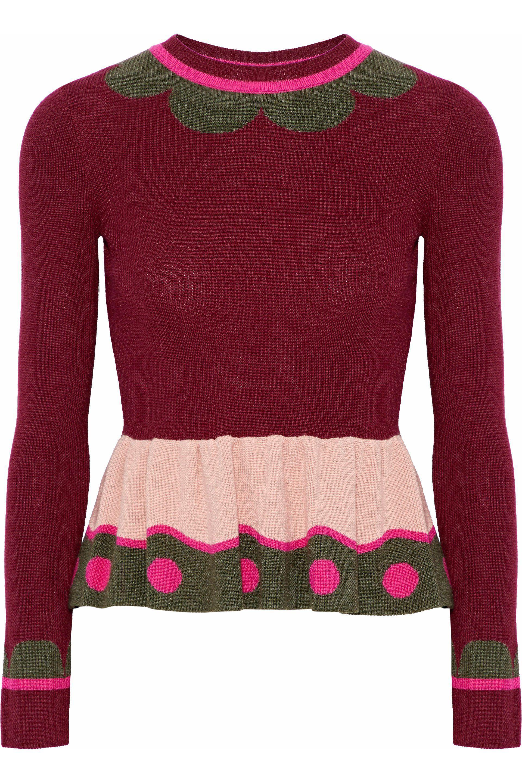 Red Women's Valentino Wool Knit Intarsia FU1rqF