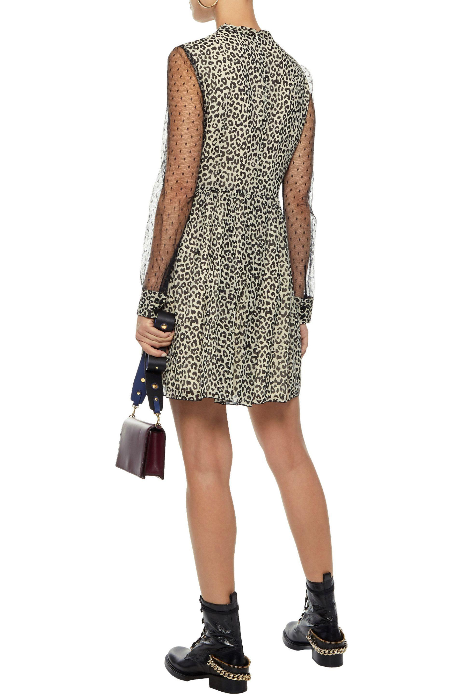 08b7468273c3 RED Valentino - Multicolor Woman Point D'esprit-paneled Leopard-print Silk-.  View fullscreen