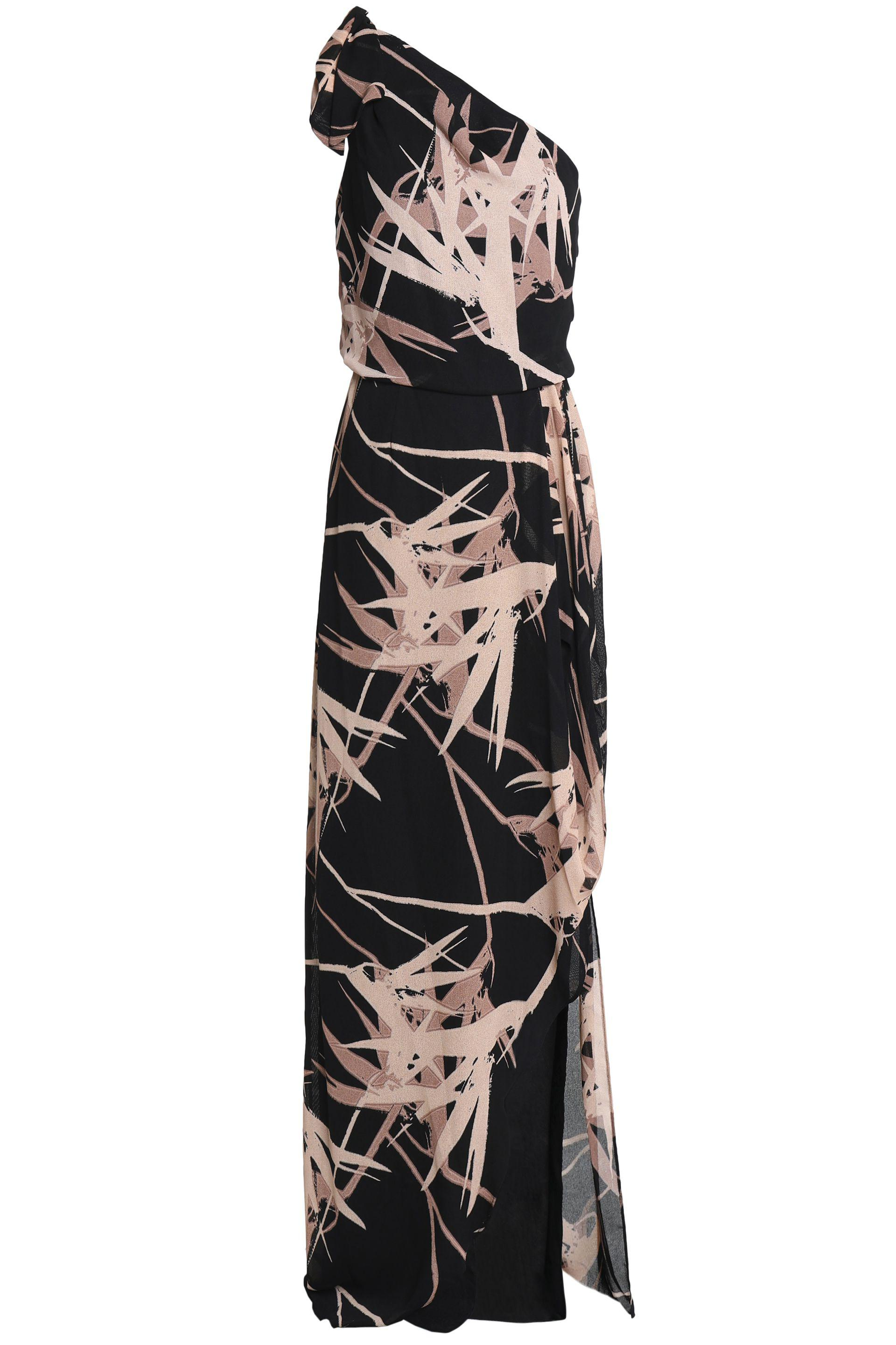 69c0ff2585 Halston One-shoulder Draped Printed Crepe Gown in Black - Lyst