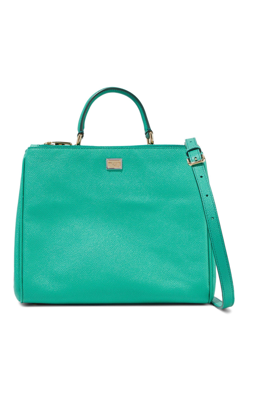 Lyst - Dolce   Gabbana Textured-leather Shoulder Bag in Green 99333af145f5a