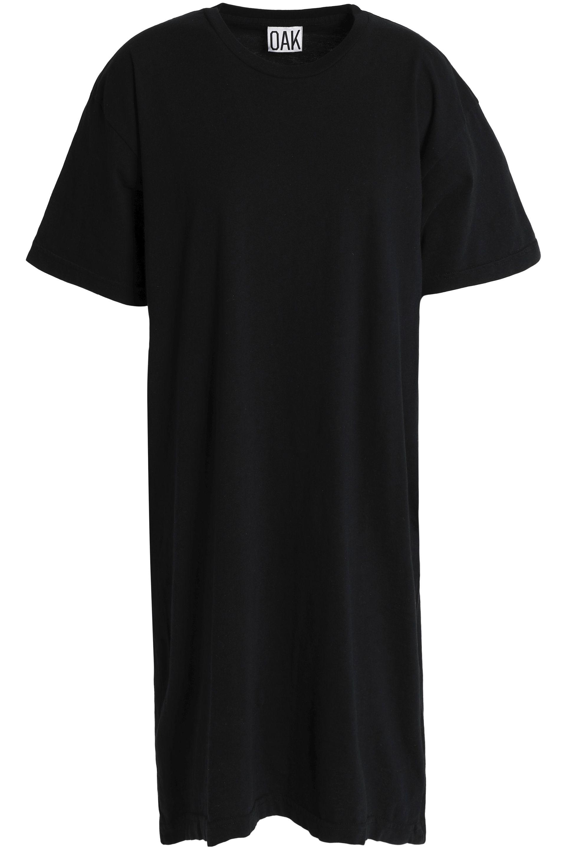 Oak Woman Asymmetric Cotton-jersey Dress Black Size XL OAK 0qBz2w