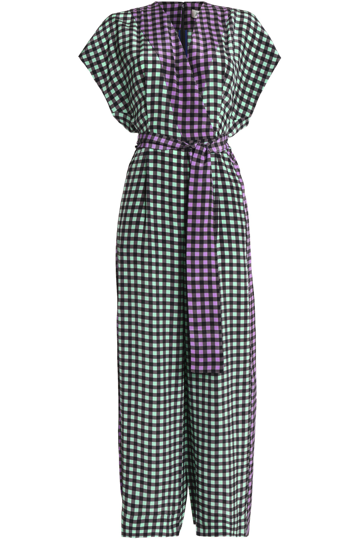 2622095a14 Diane von Furstenberg Wrap-effect Gingham Silk Crepe De Chine ...
