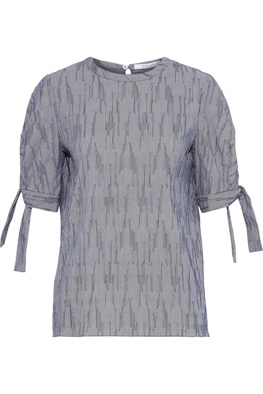 a6a2ad2563d61 10 Crosby Derek Lam. Women s Blue Woman Striped Textured Cotton-blend Poplin  Top Navy