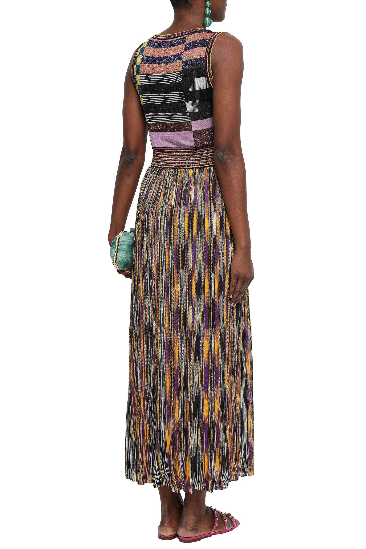 e910f01fbd9c Lyst - Missoni Woman Gathered Metallic Crochet-knit Midi Dress ...