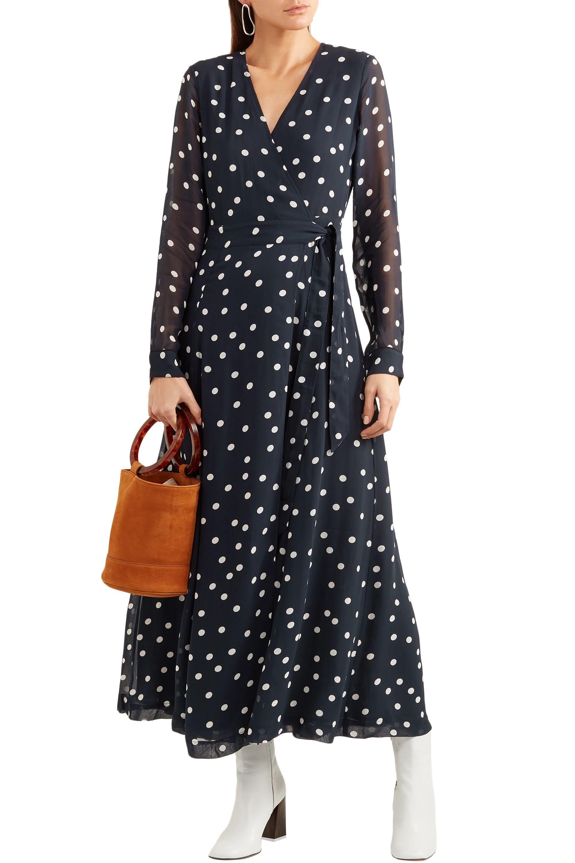 fd622a67ec59 Ganni - Woman Barra Polka-dot Chiffon Midi Wrap Dress Midnight Blue - Lyst.  View fullscreen