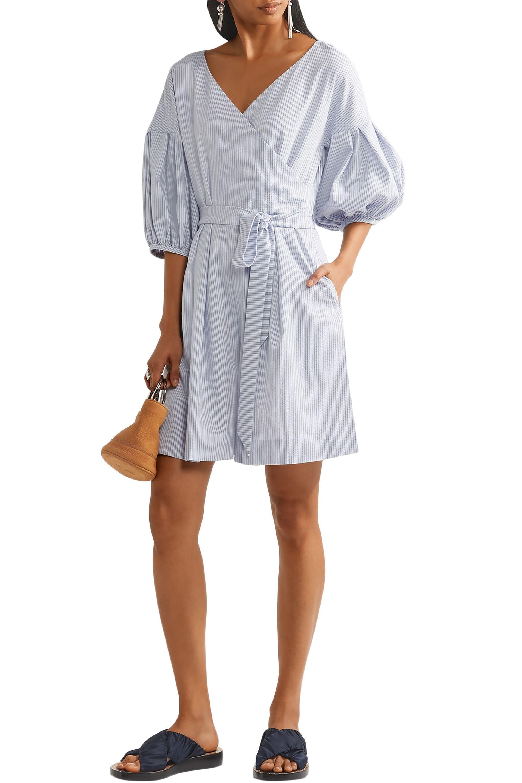 fcef29549f25 ADEAM Woman Belted Striped Seersucker Playsuit Light Blue in Blue ...