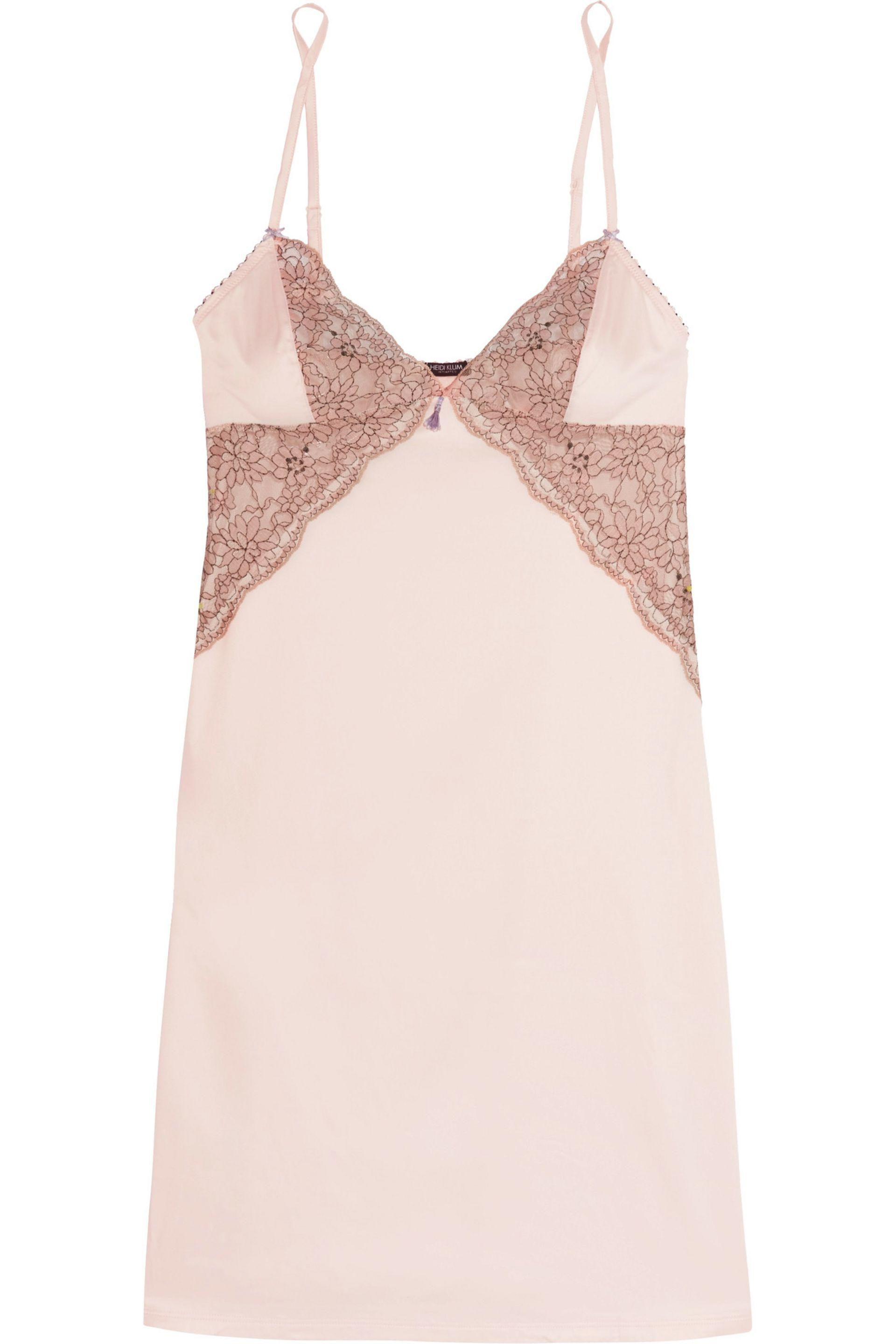 90ed80e14737 Lyst - Heidi Klum Venetian Embrace Corded Lace And Satin Chemise in Pink