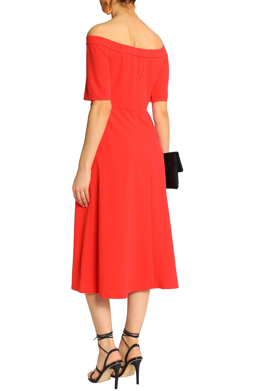Tibi Woman Off-the-shoulder Stretch-crepe Midi Dress Tomato Red Size 00 Tibi isF6mZU