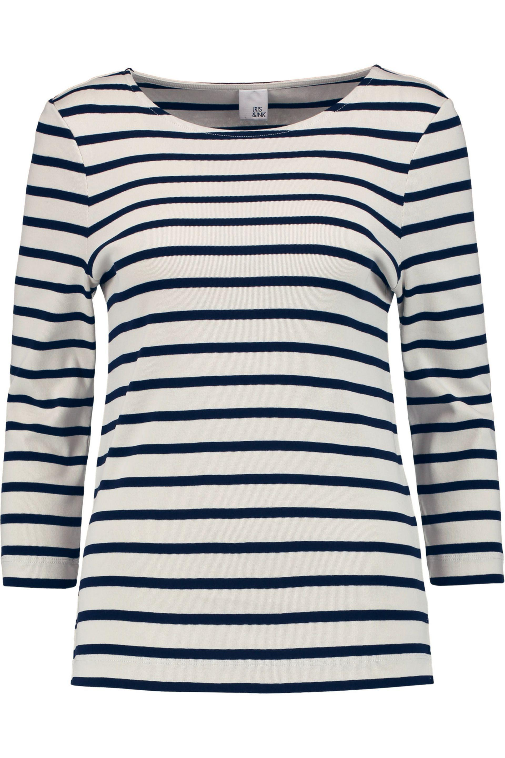 Iris & Ink Woman Madeline Striped Cotton-jersey Top Blue Size S IRIS & INK Brand New Unisex Online Sale Popular Footaction H0UfXe8