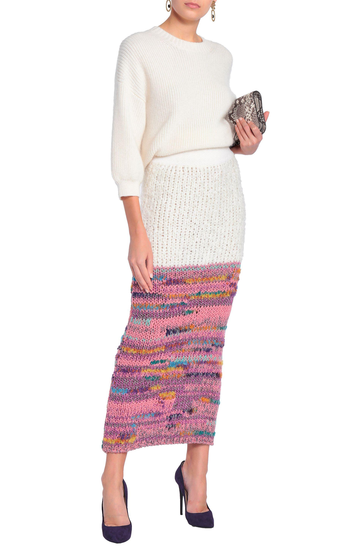 c4f661b250 Lyst - Missoni Woman Metallic-paneled Crochet-knit Maxi Skirt Pink ...