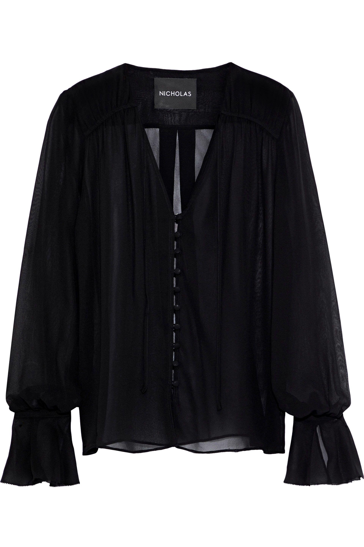 b1aed8bb6ca0c5 Nicholas Woman Bow-detailed Silk-georgette Blouse Black in Black - Lyst