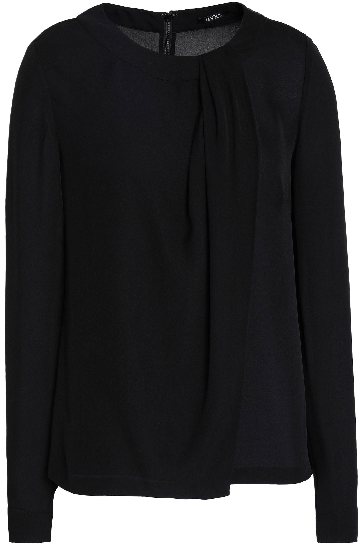 Raoul. Women's Black Draped Silk-crepe De Chine Blouse
