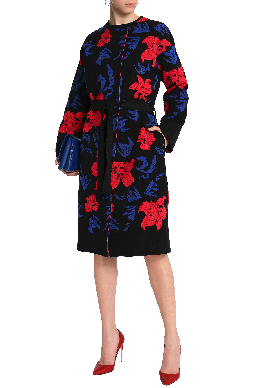 8df87eab99e0 Emilio Pucci Woman Belted Jacquard-knit Jacket Black in Black - Lyst