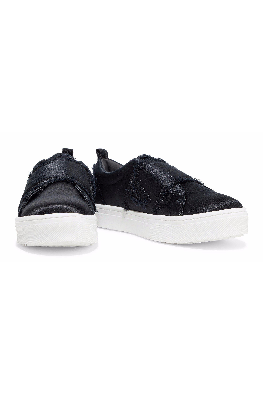 2bc244d81 Sam Edelman - Woman Levine Frayed Satin Slip-on Sneakers Black - Lyst. View  fullscreen