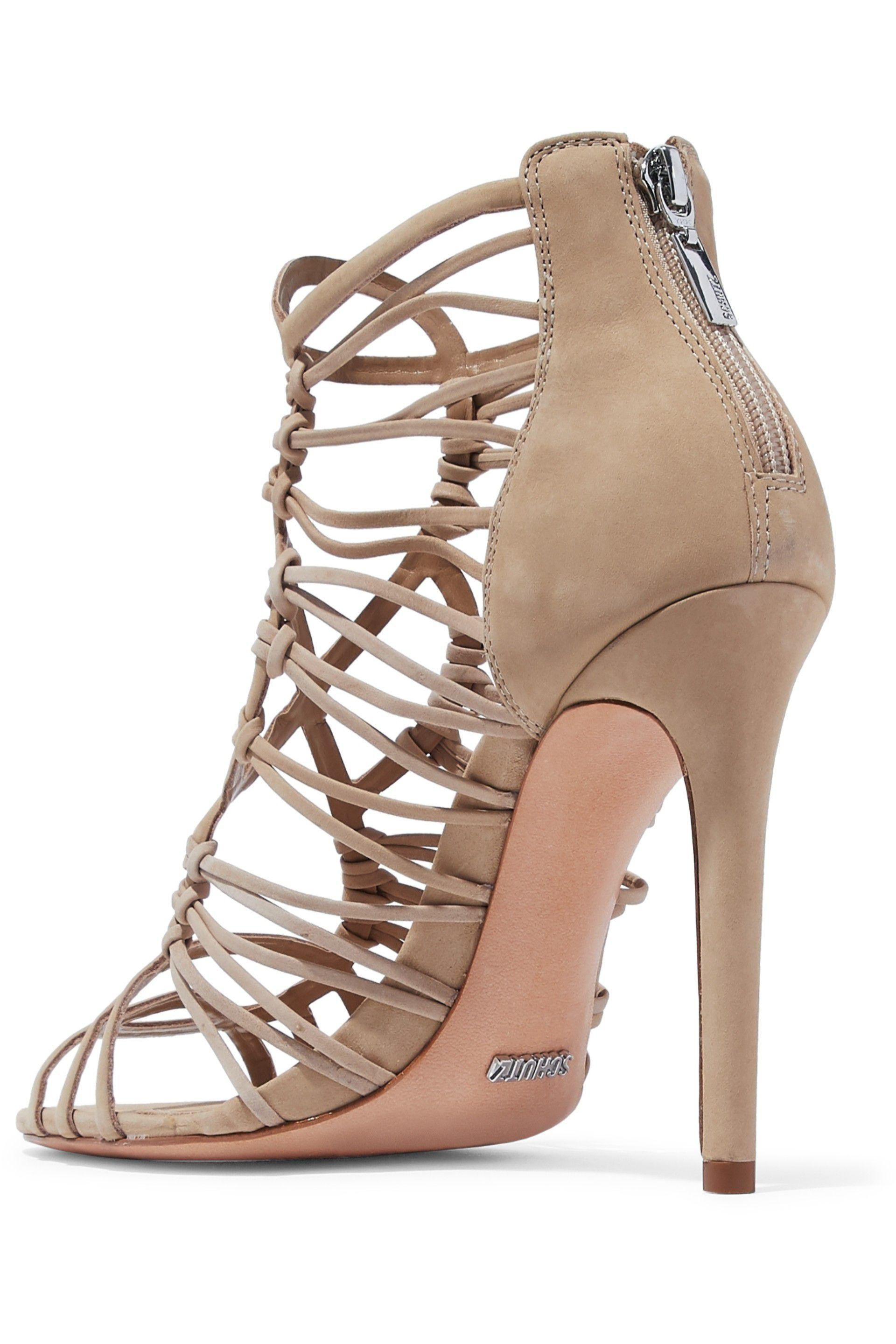 05f0fd845e91d2 Lyst - Schutz Woman Naama Cutout Nubuck Sandals Beige in Natural
