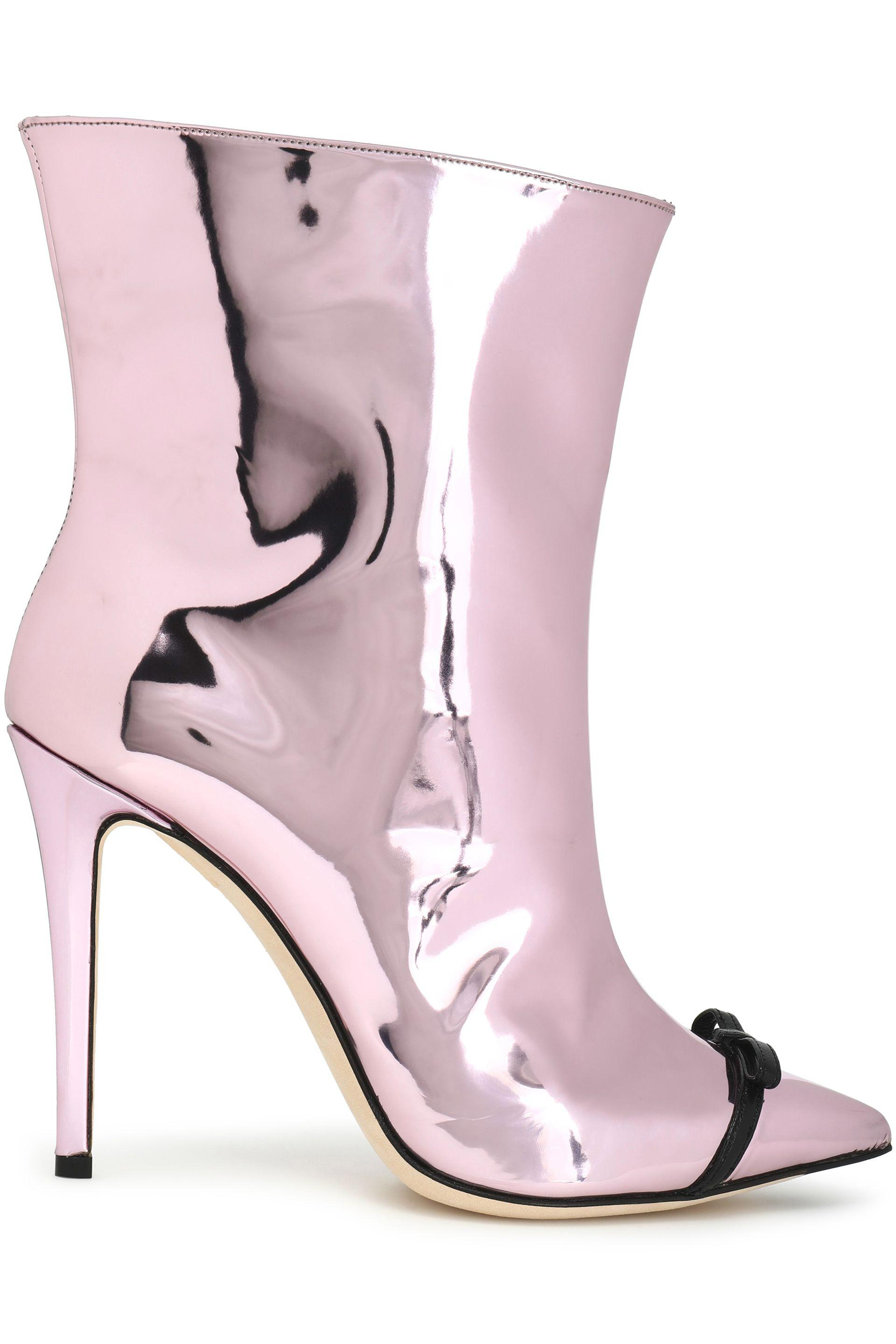 best service 7d087 3c248 marco-de -vincenzo-Baby-pink-Bow-embellished-Mirrored-leather-Ankle-Boots.jpeg