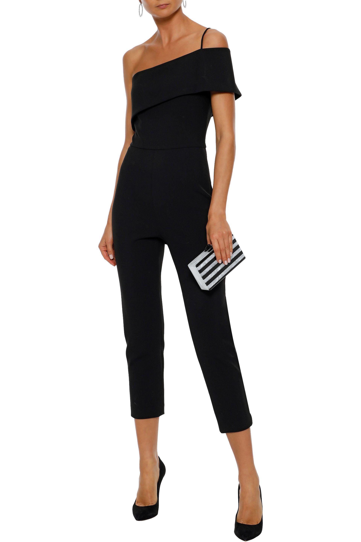 69689a648683 Cushnie et Ochs - Black One-shoulder Cropped Crepe Jumpsuit - Lyst. View  fullscreen