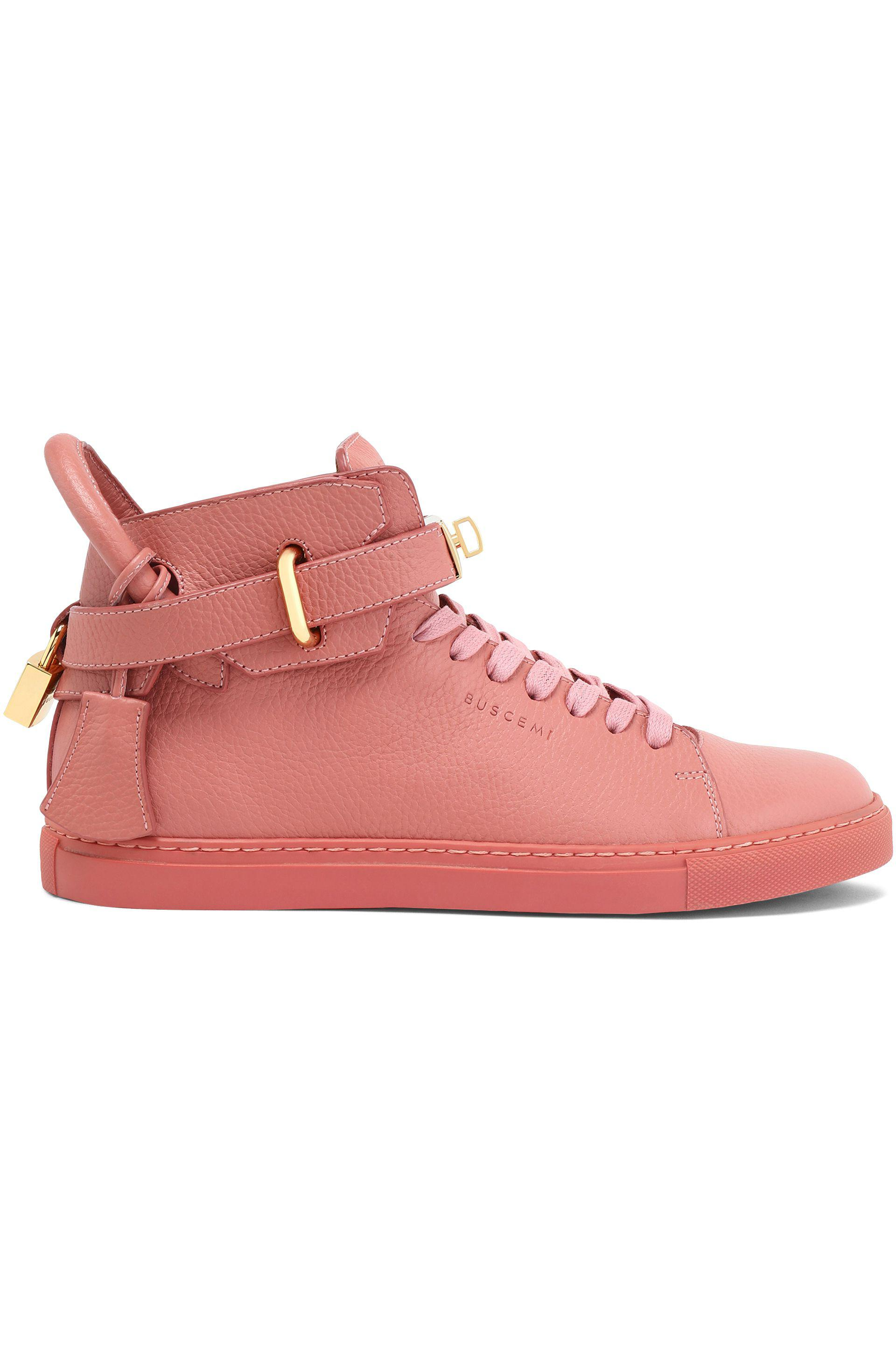 Buscemi Woman Embellished Metallic Snake-effect Leather High-top Sneakers Rose Gold Size 40 Buscemi tqqmV4x
