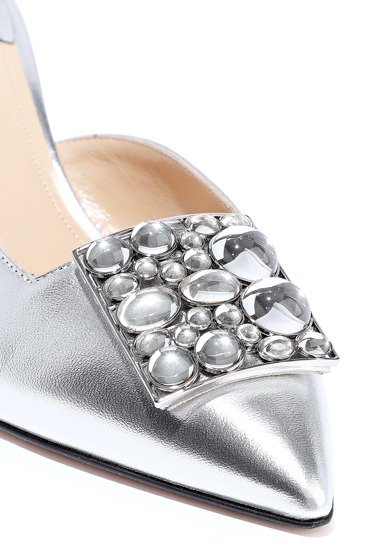 359533f3028 Women's Lilia Embellished Metallic Leather Mules Silver