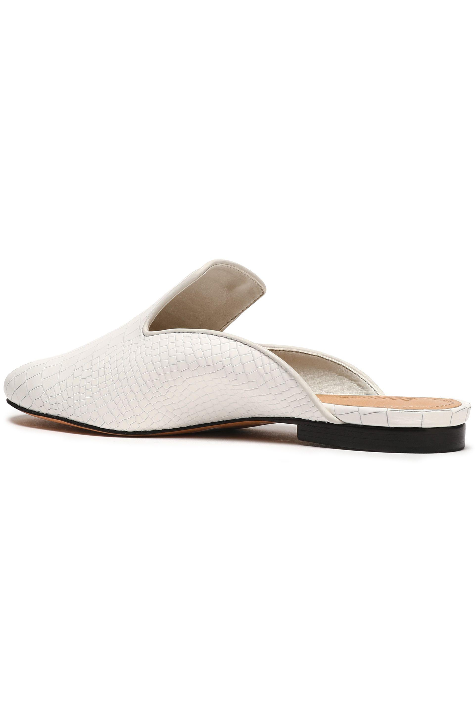 73dfe8eff90967 Lyst - Schutz Croc-effect Leather Slippers in White