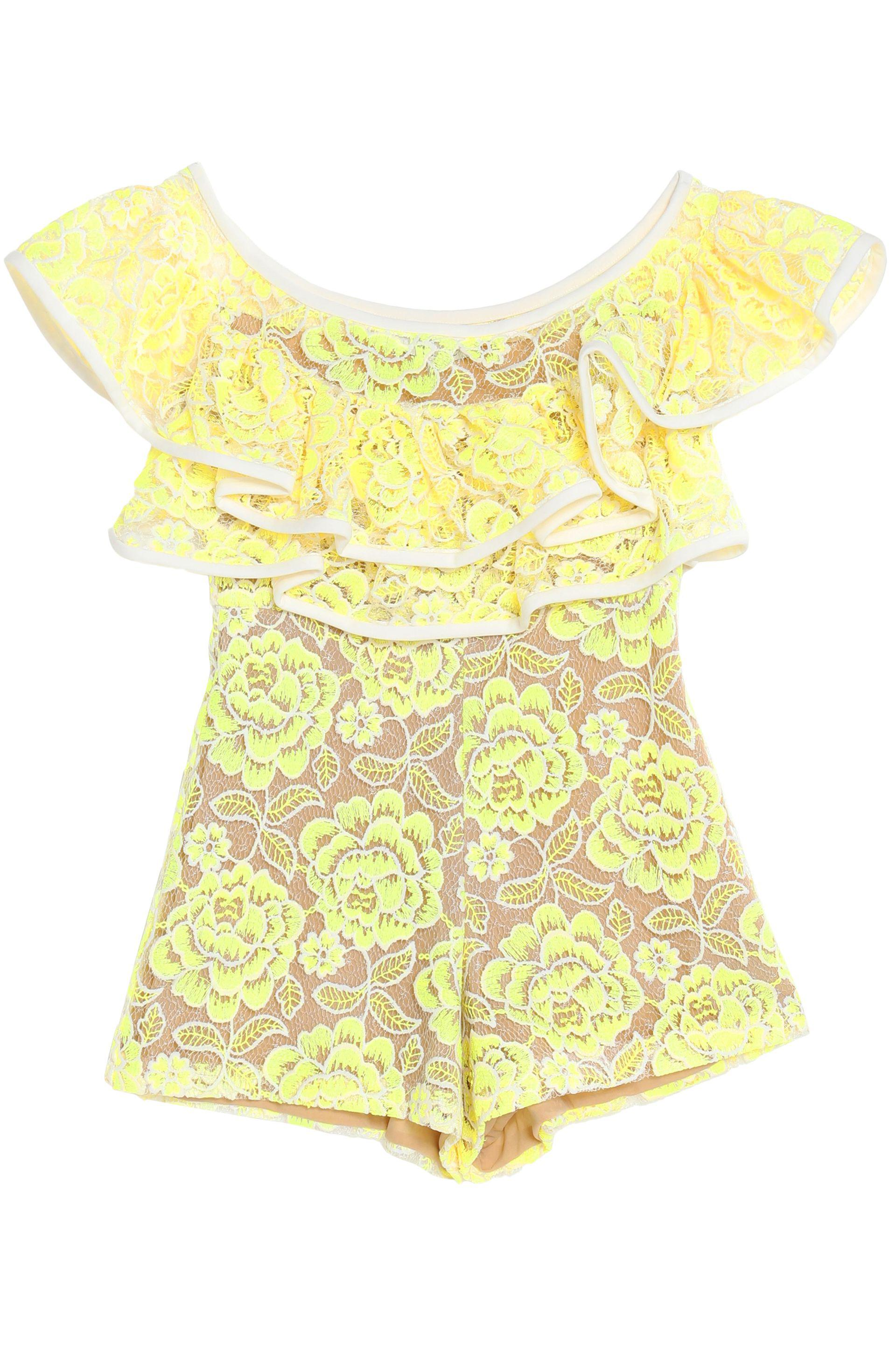 bcb46487fe Alexis Woman Off-the-shoulder Ruffled Guipure Lace Playsuit Yellow ...