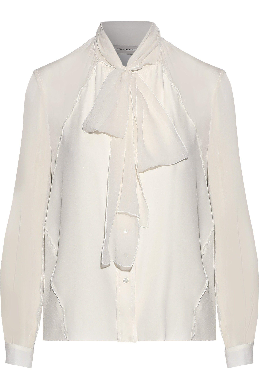36fdb8c15d3161 Carolina Herrera Woman Pussy-bow Silk-georgette Blouse Ivory in ...