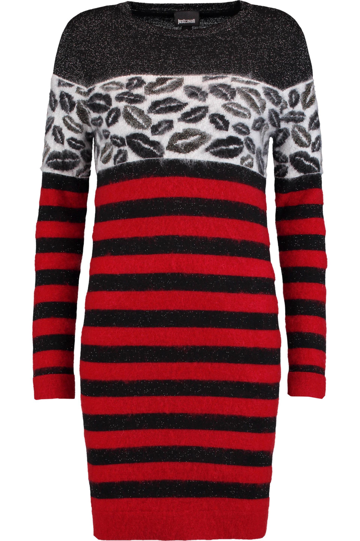 Just Cavalli Woman Paneled Intarsia-knit And Striped Felt Mini Dress Red Size M Just Cavalli KVya6TF41