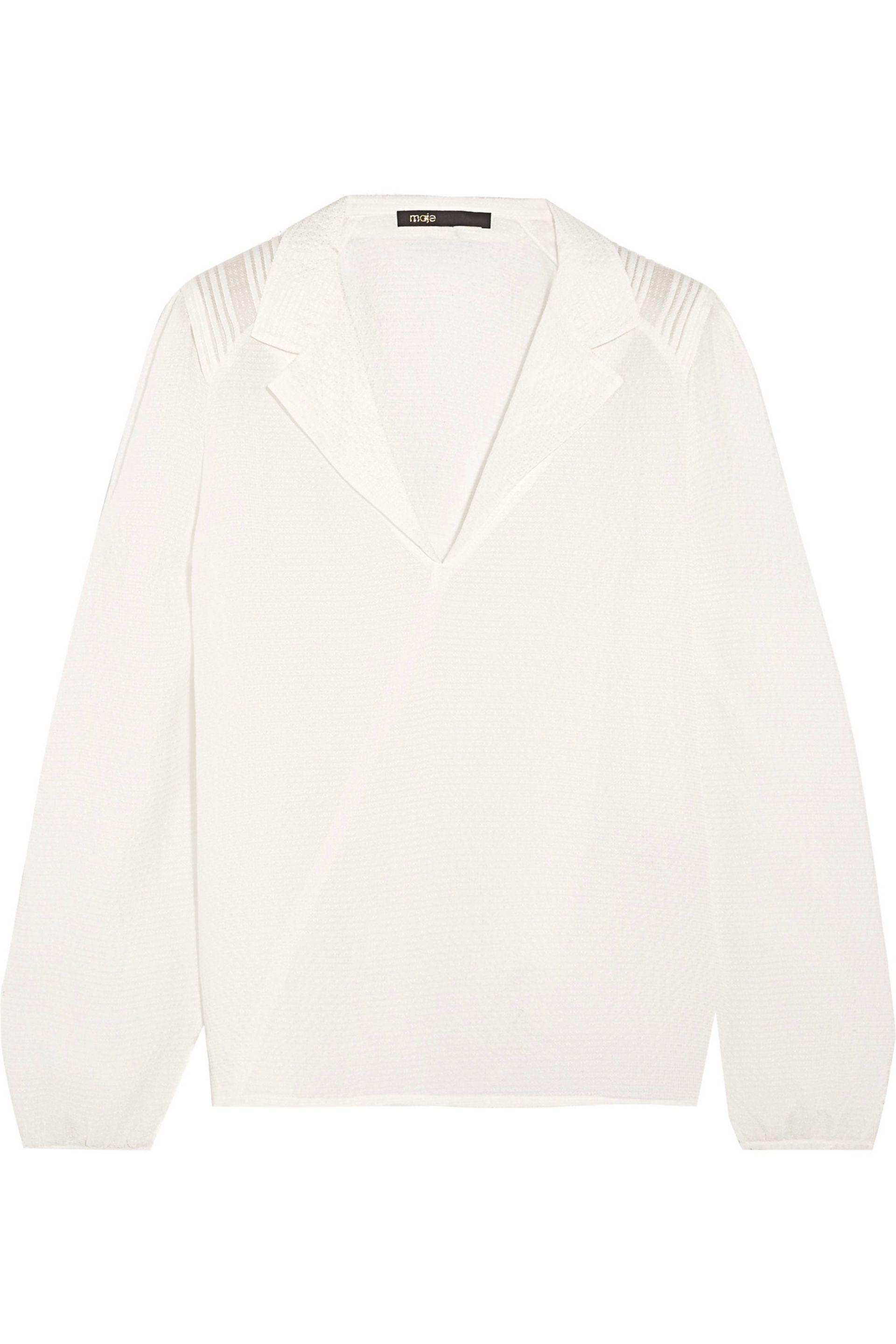 Maje. Women's Textured Silk-crepe Blouse