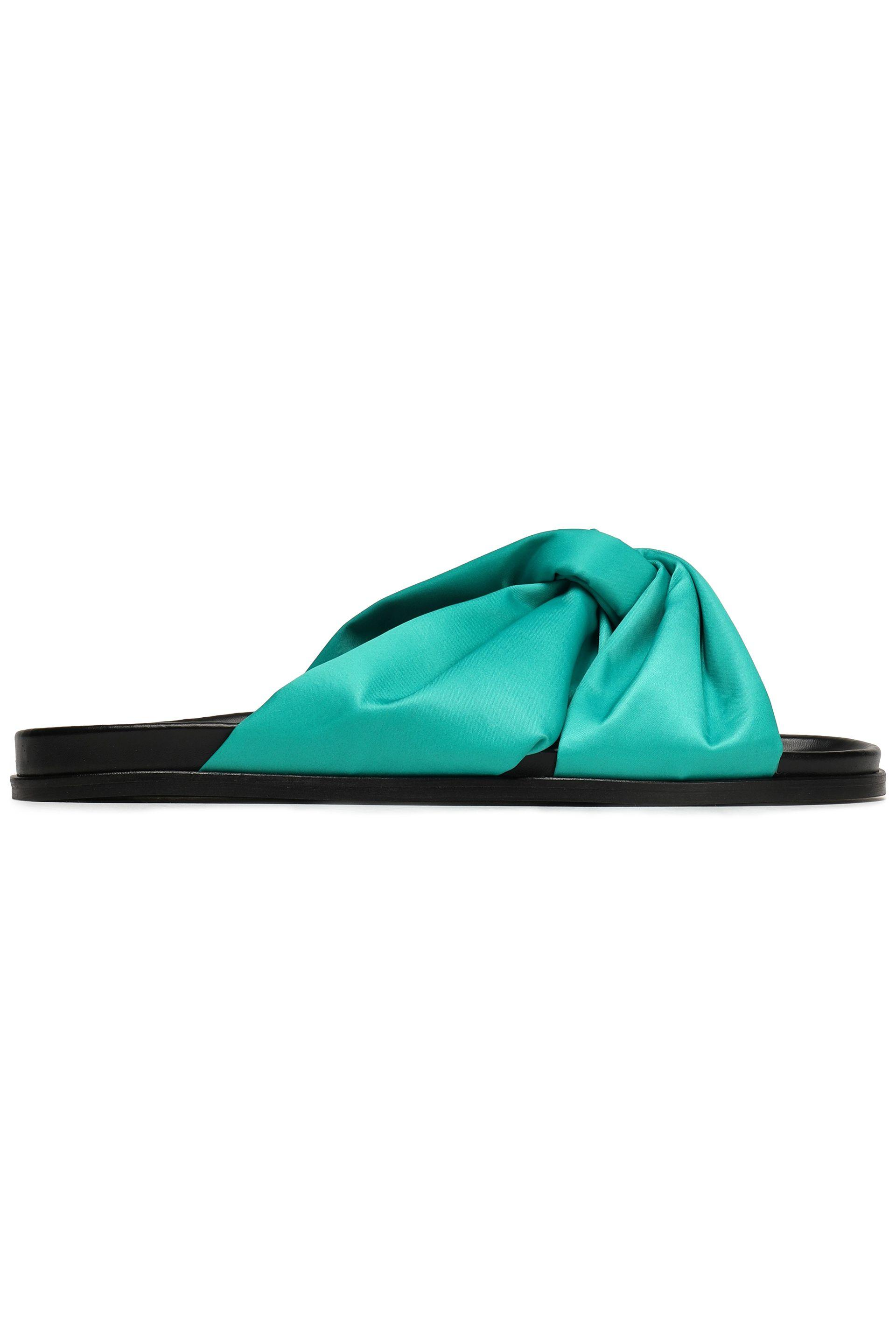 edc45f62fd0e Maje Woman Knotted Satin Slides Jade in Green - Lyst