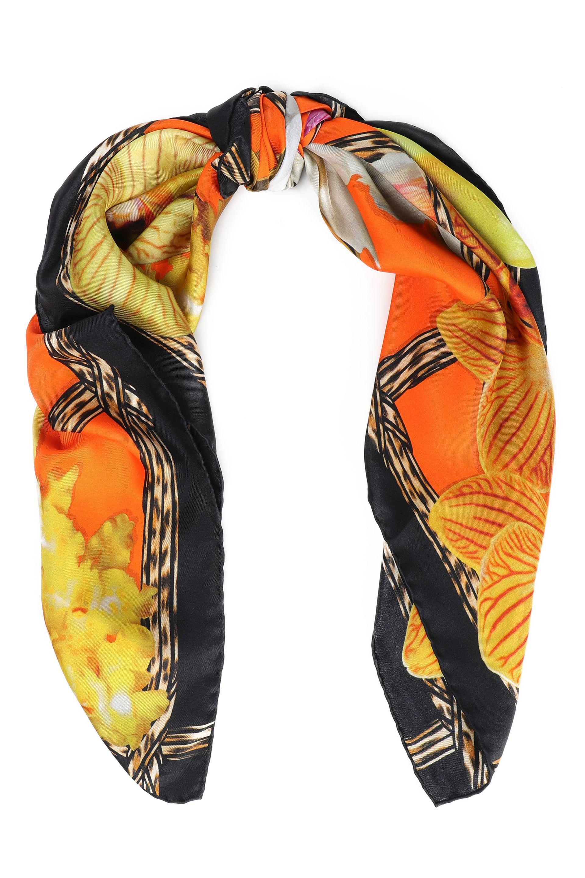 6e8e7e62cc8d5 Lyst - Roberto Cavalli Woman Printed Silk-twill Scarf Orange in Orange
