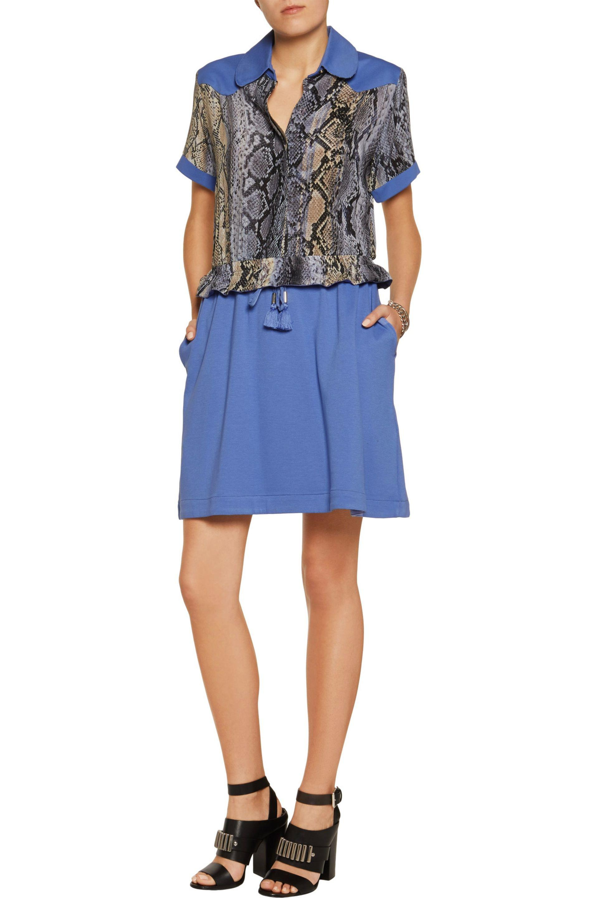 Just Cavalli | Blue Snake-print Chiffon And Jersey Mini Dress | Lyst. View  Fullscreen