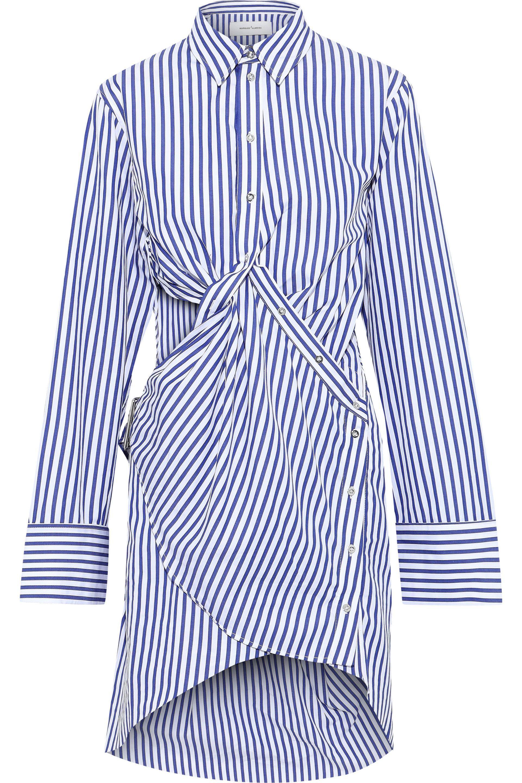e6c754c56fdcb9 Marques'Almeida. Women's Woman Twist-front Cutout Striped Cotton-poplin  Mini Shirt Dress Blue