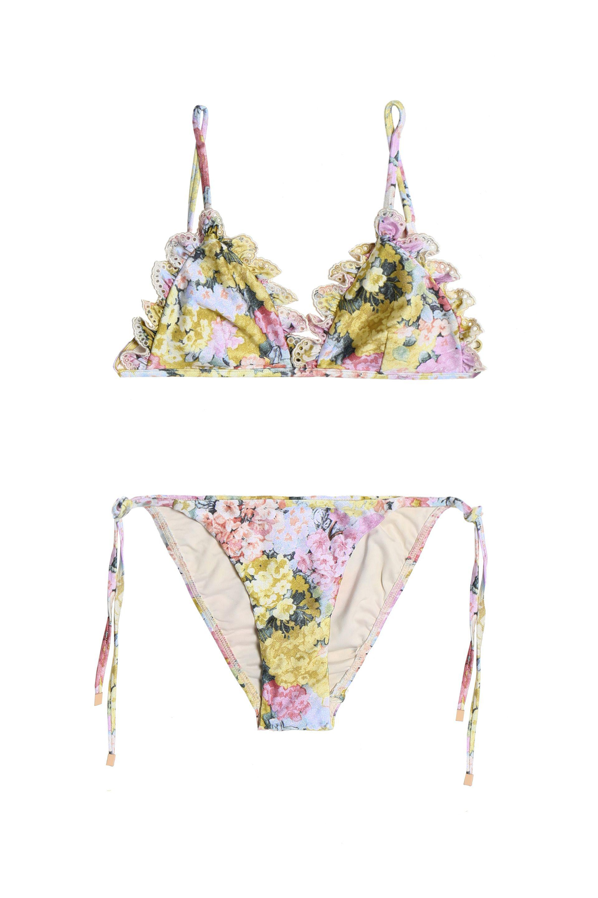 870852038a889 Zimmermann Valour Lace-trimmed Floral-print Triangle Bikini - Lyst