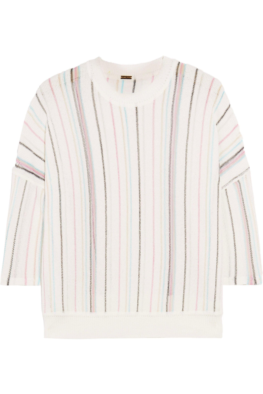 Adam Lippes. Women's White Striped Open-knit Cotton-blend Top