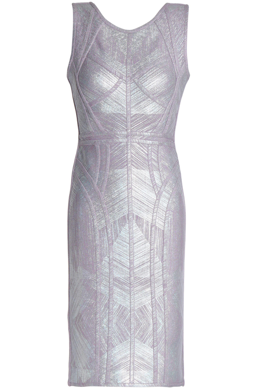 a9fd3c933555 Lyst - Hervé Léger Metallic Bandage Mini Dress in Purple