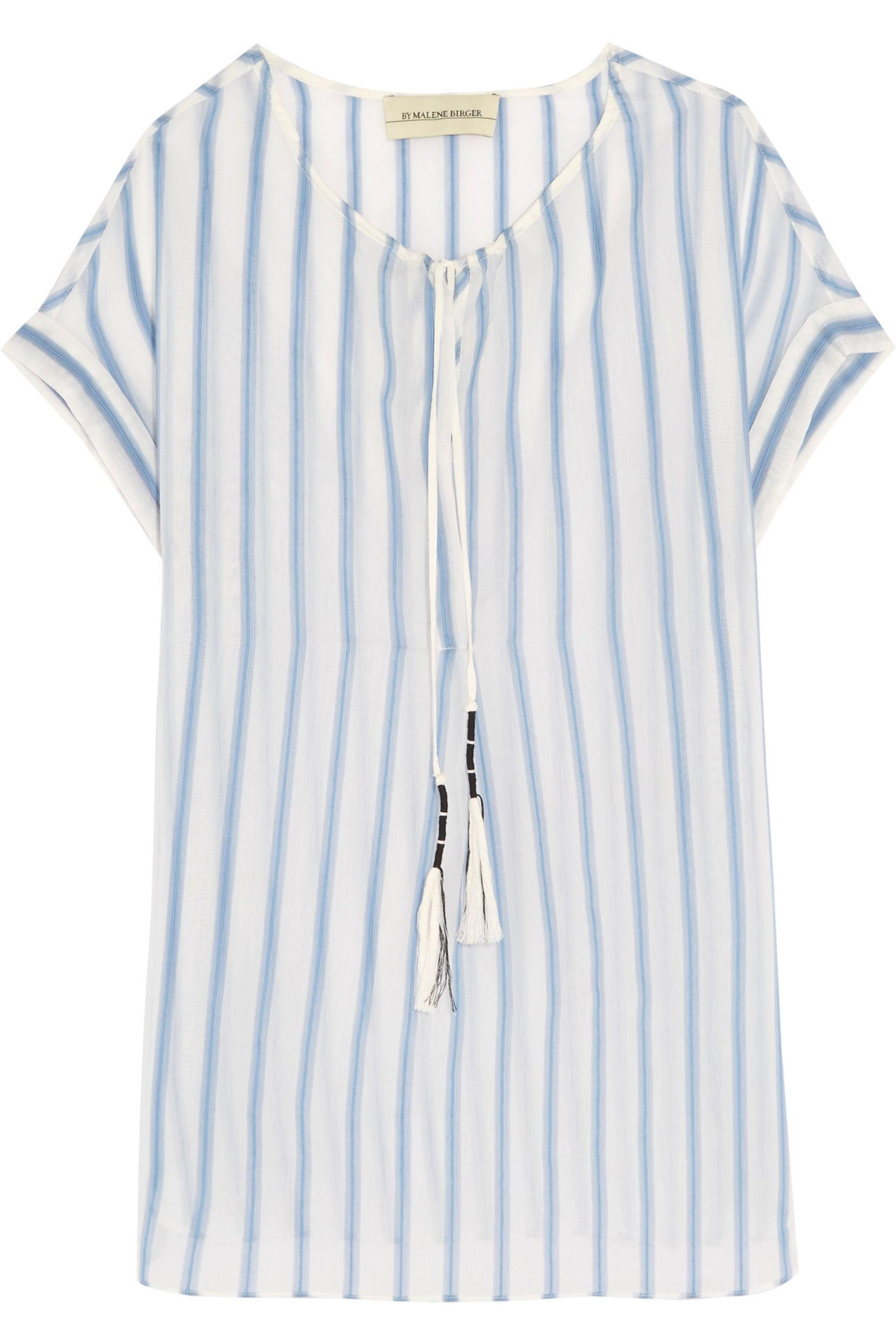 Free Shipping Outlet Locations By Malene Birger Woman Caroly Striped Cotton And Silk-blend Voile Top Sky Blue Size 34 By Malene Birger Clearance Outlet Store Visit New Cheap Online dNEw8Fh4MH
