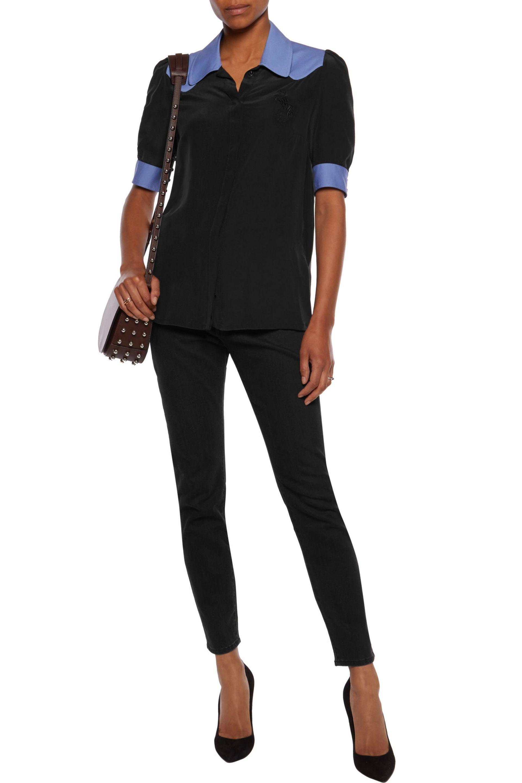 Just Cavalli - Black Crepe-trimmed Washed-silk Shirt - Lyst. View Fullscreen