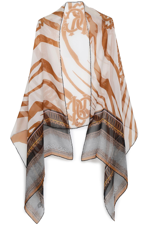 b0727d7748 Roberto Cavalli Woman Printed Silk-chiffon Scarf Light Brown in ...