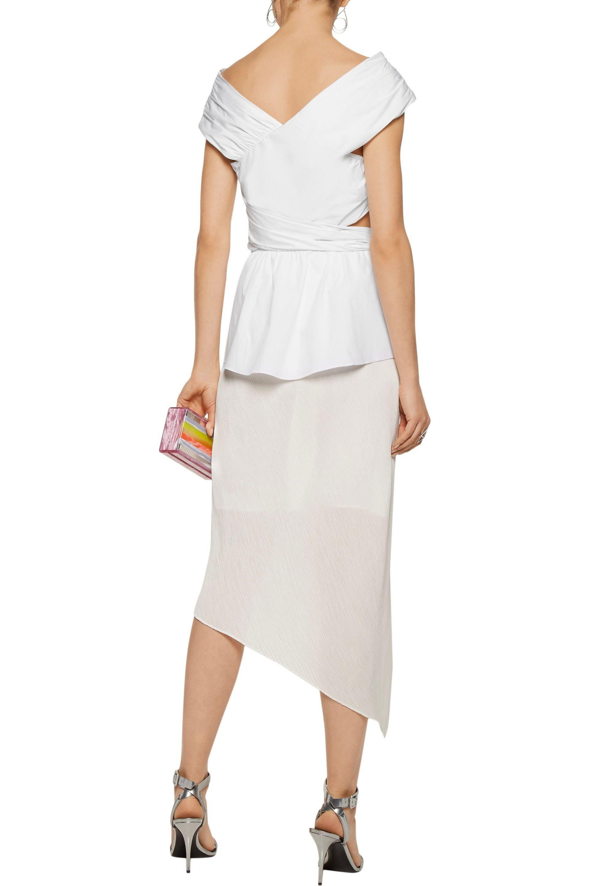 Tanya Taylor | White Phoebe Cutout Wrap-effect Cotton-blend Top | Lyst.  View Fullscreen