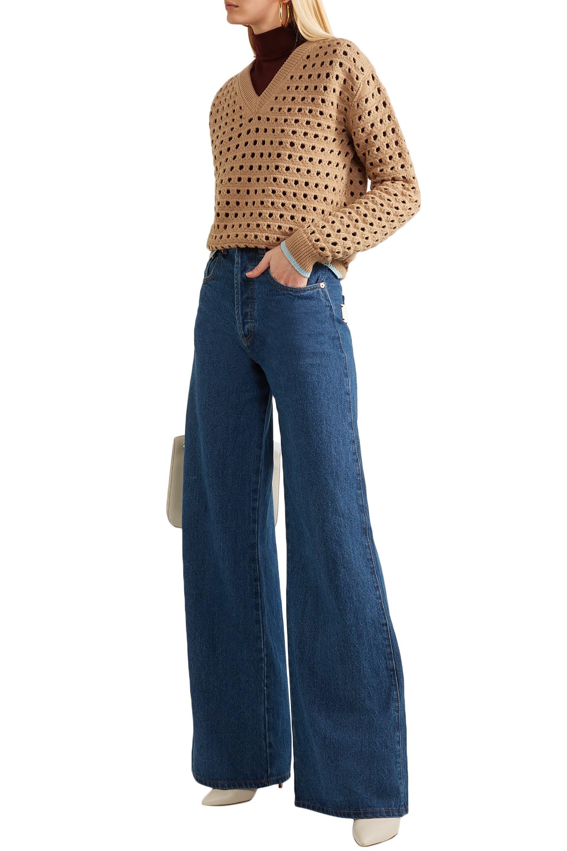 b31cec4d1 Lyst - Victoria Beckham Woman Open-knit Wool-blend Sweater Light Brown