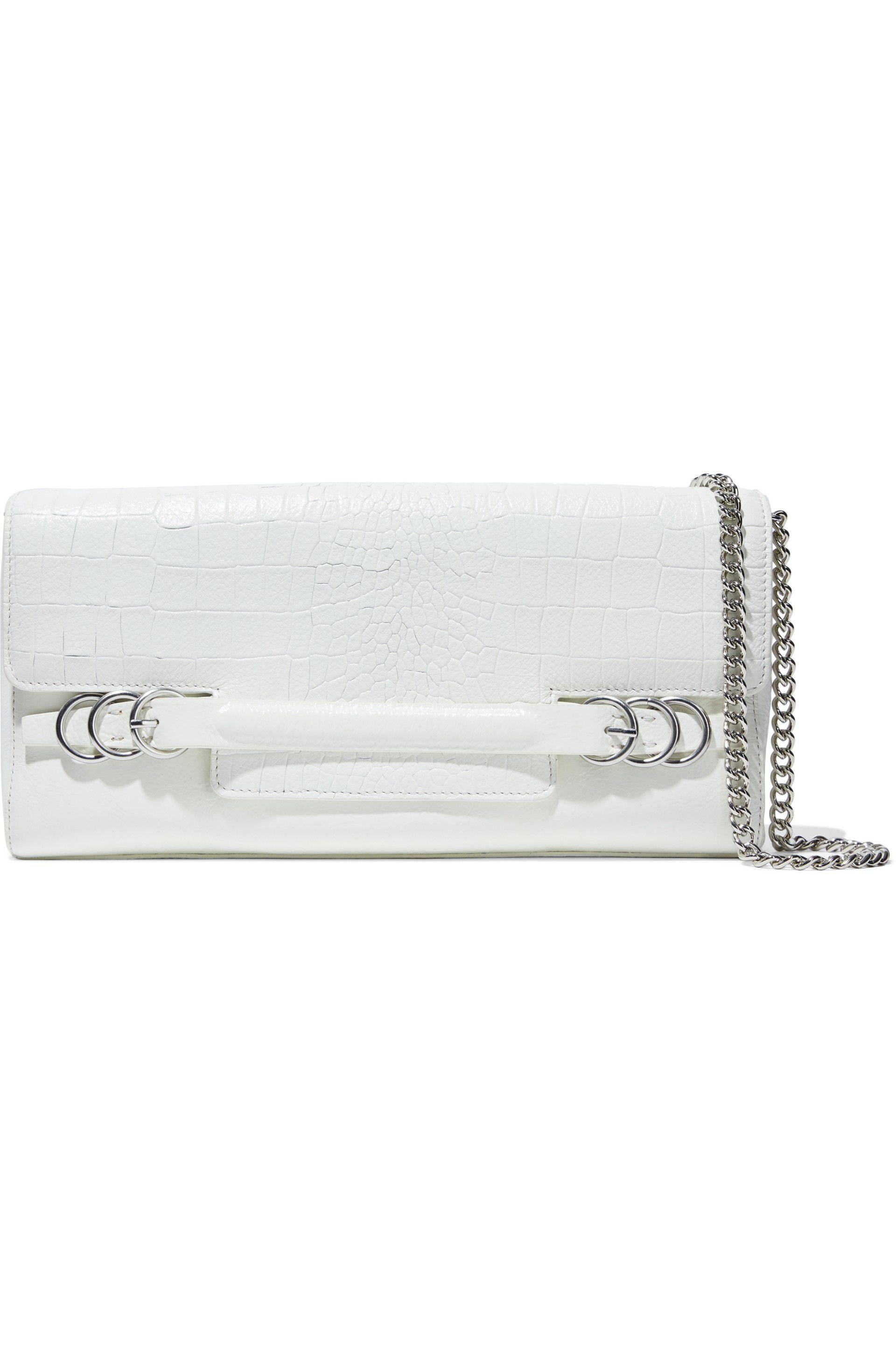 f7e4b6355211 Halston Croc-effect And Glossed-leather Shoulder Bag in White - Lyst