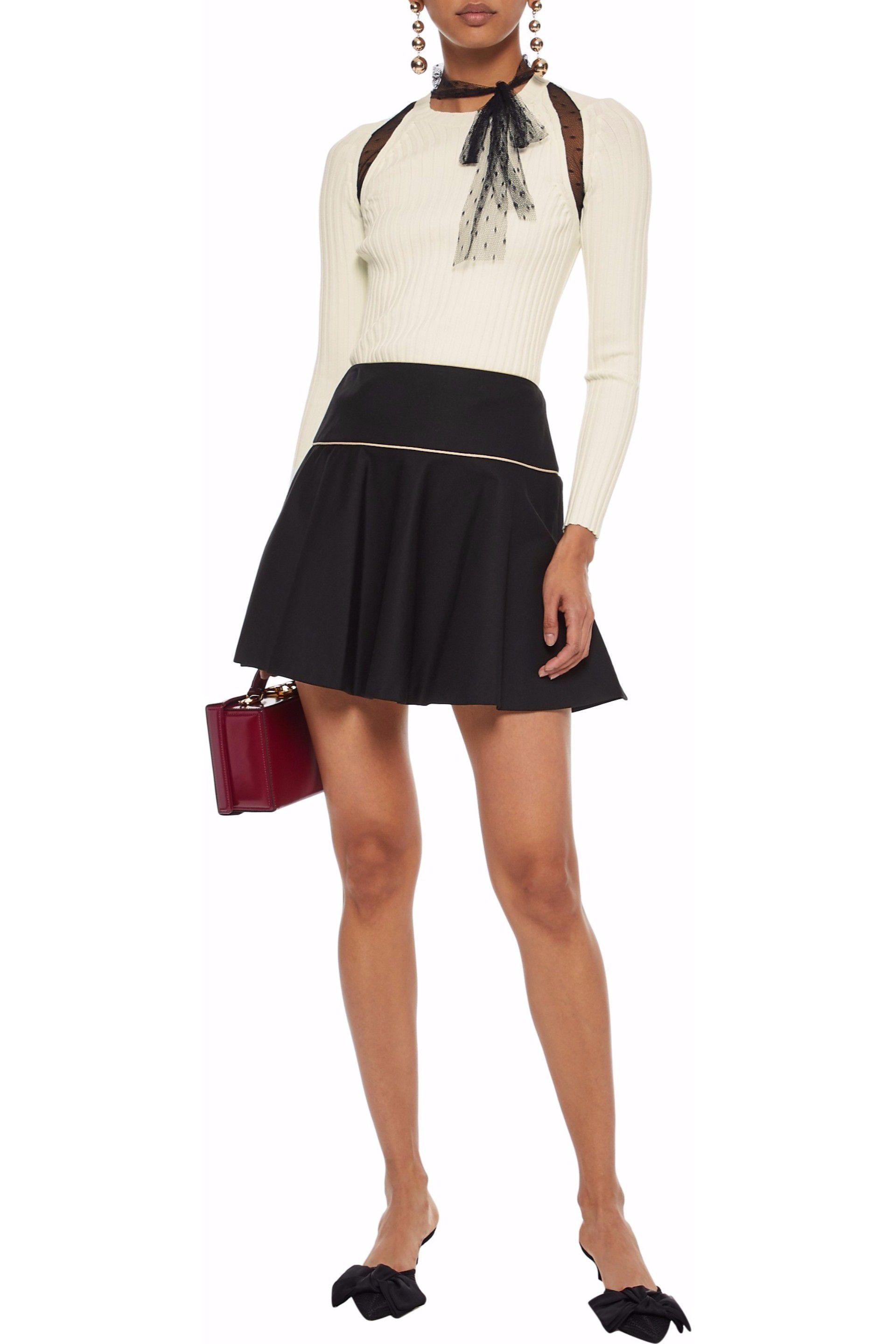 80f67470b7 RED Valentino - Woman Flared Stretch-cotton Ponte Mini Skirt Black - Lyst.  View fullscreen