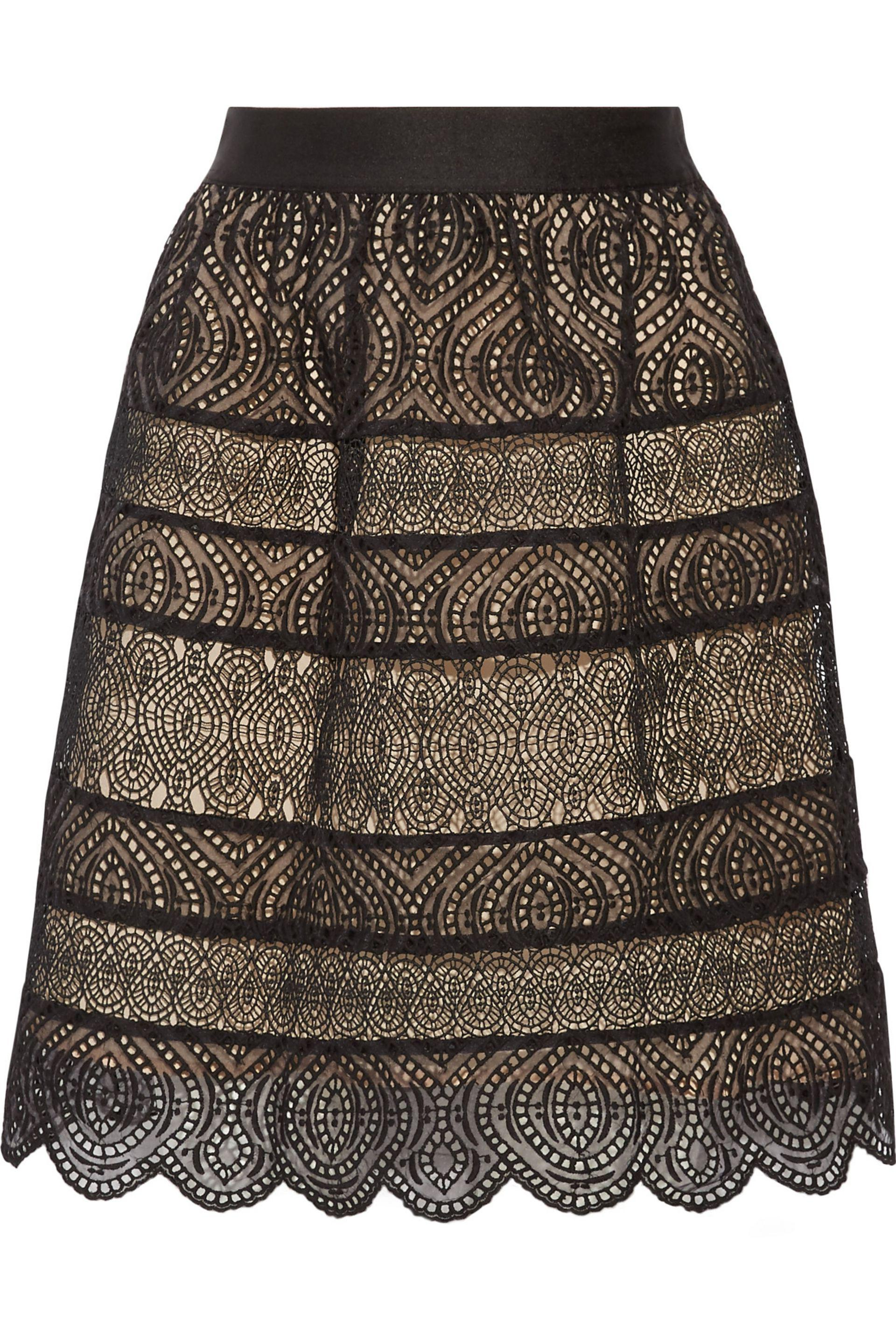 Zimmermann. Women's Black Bell Flared Paneled Crochet And Broderie Anglaise  Organza Mini Skirt