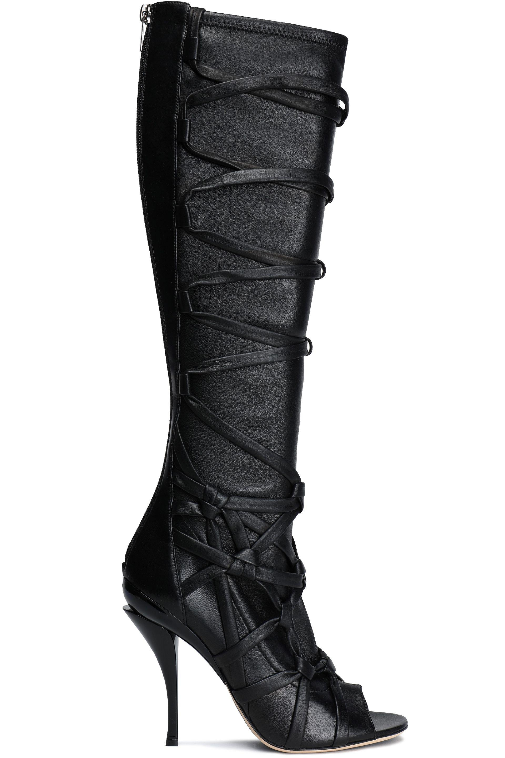 acdc8f56e0e Jimmy Choo Lace Up Leather Boots in Black - Lyst