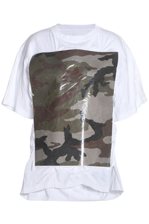 Mm6 By Maison Margiela Woman Color-block Coated Cotton-jersey Top White Size XL Maison Martin Margiela Best Store To Get Cheap Online URx053
