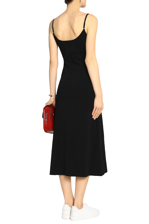 Clearance Store Sale Cheap Price A.l.c. Woman Draped Cotton-blend Midi Dress Black Size L A.L.C. Free Shipping Perfect Huge Surprise IaANkDN