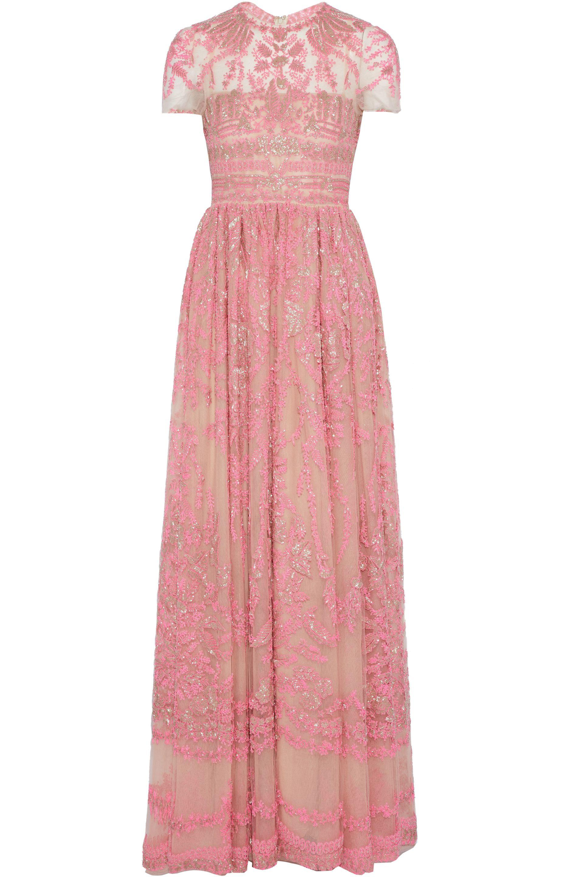 f46afa9b9b36d Valentino - Bead-embellished Embroidered Tulle Gown Pink - Lyst. View  fullscreen