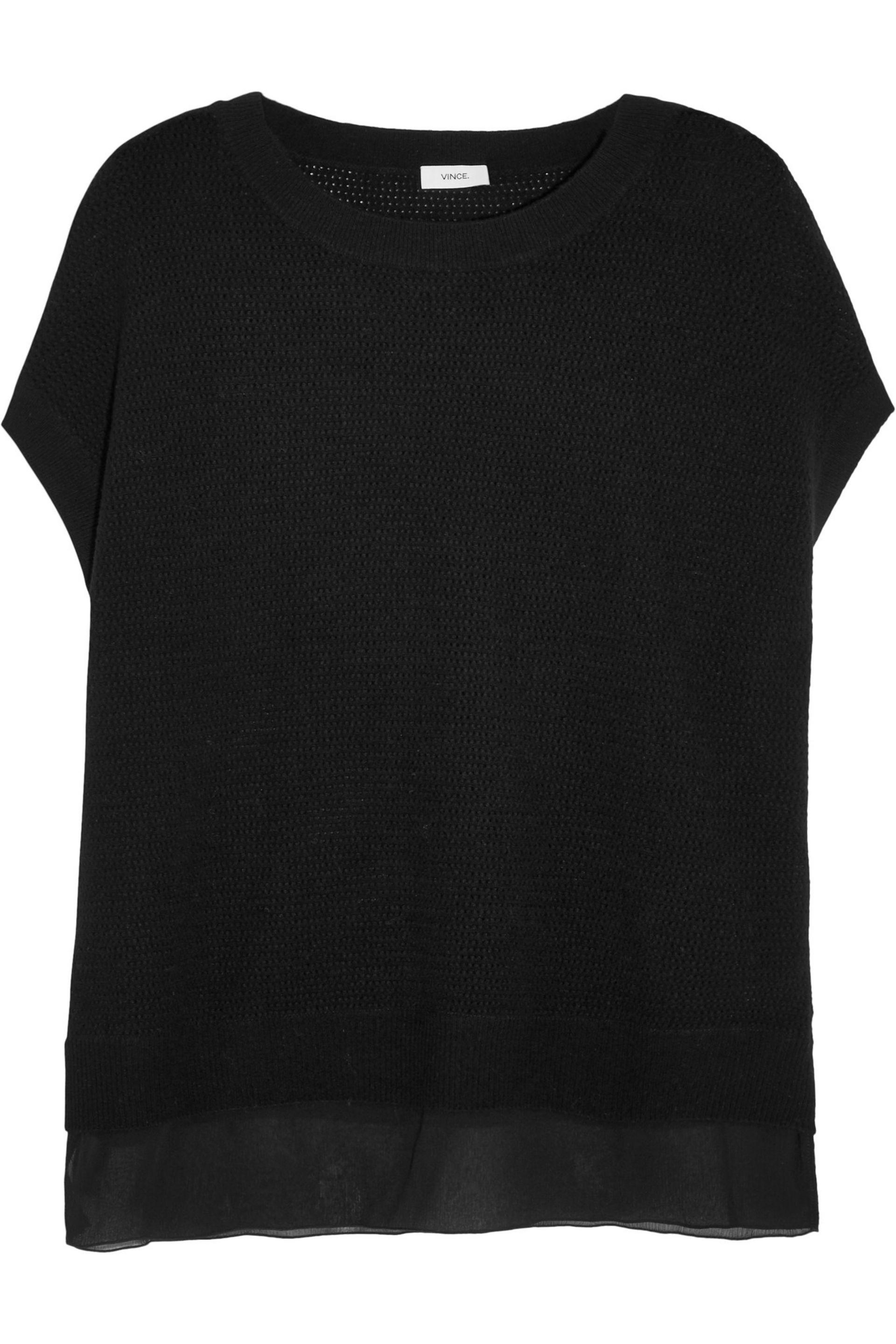 Vince. Women's Black Silk-crepe And Pointelle-knit Wool And Cashmere-blend  Jumper