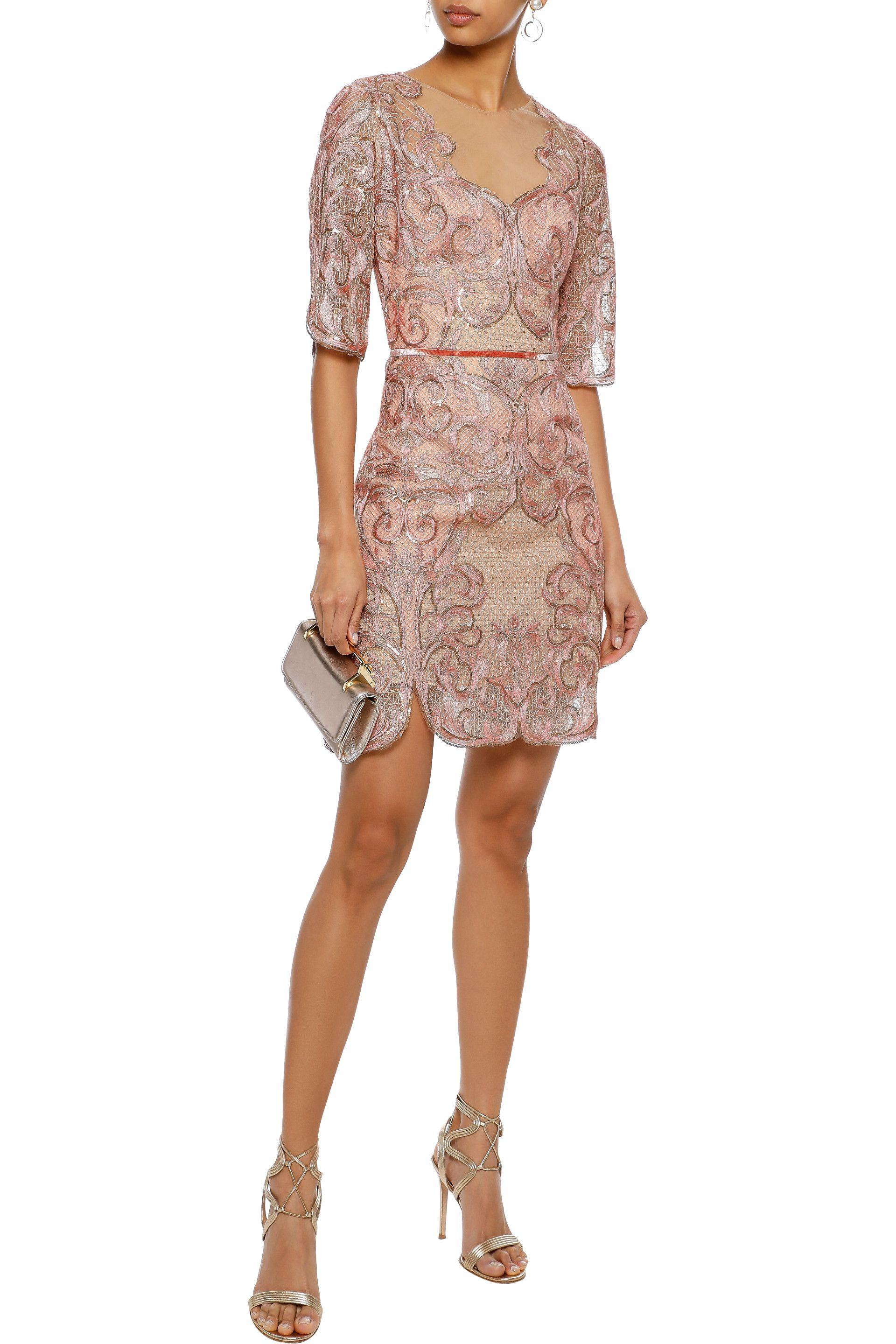 1e8ac7b9ef Marchesa notte - Pink Woman Velvet-trimmed Embellished Tulle Mini Dress  Blush - Lyst. View fullscreen