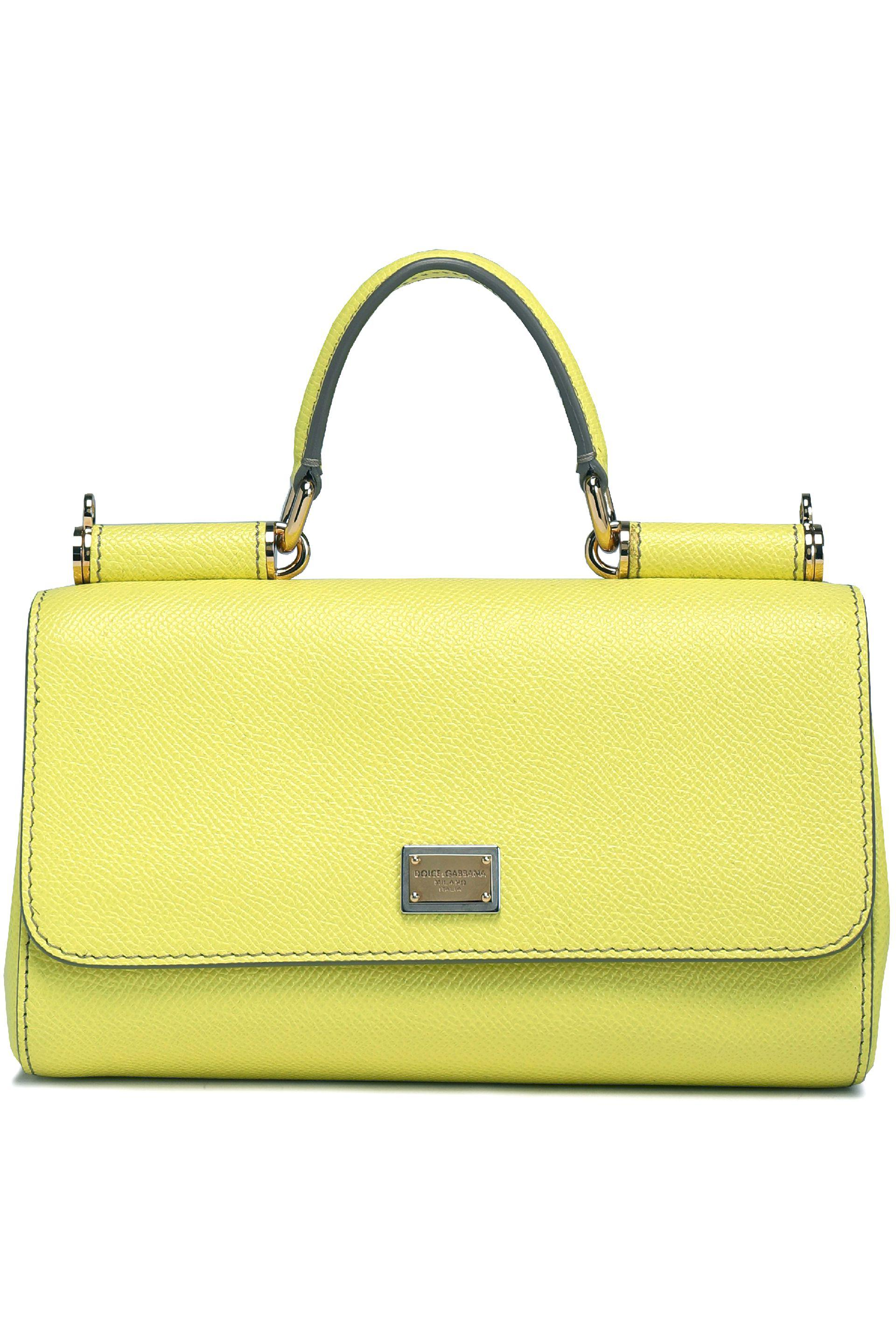 e311c7fbf2 Dolce & Gabbana Miss Sicily Textured-leather Shoulder Bag in Yellow ...
